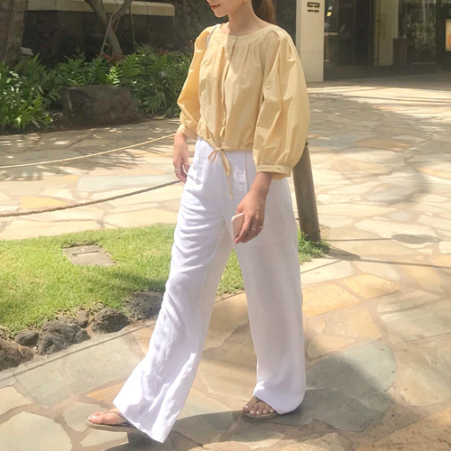 Wide linen pants (3color)